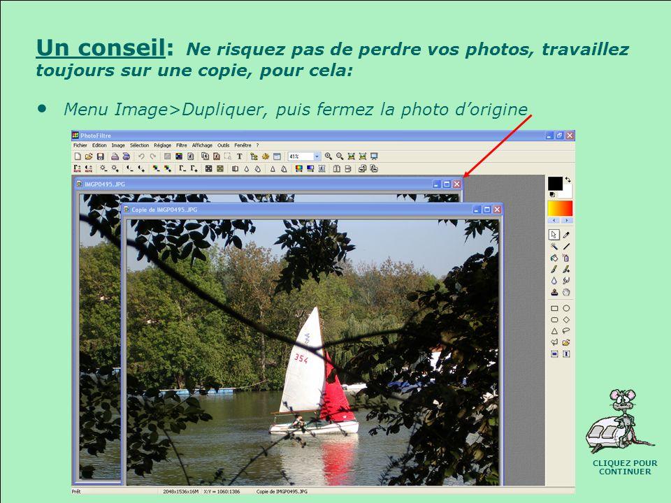 OUVRIR UNE PHOTO Menu Fichier>Ouvrir, ou: Icône « Ouvrir » Dans la boite de dialogue « Ouvrir »: Recherchez le dossier à consulter Sélectionnez la pho