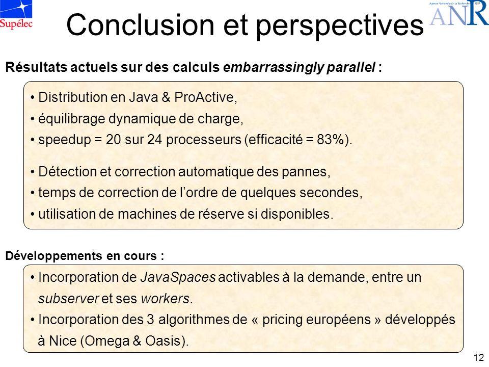 12 Conclusion et perspectives Distribution en Java & ProActive, équilibrage dynamique de charge, speedup = 20 sur 24 processeurs (efficacité = 83%).
