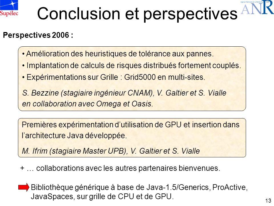 13 Conclusion et perspectives Amélioration des heuristiques de tolérance aux pannes.