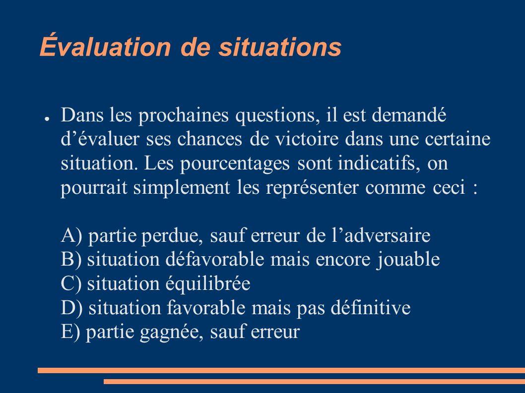 Évaluation de situations Dans les prochaines questions, il est demandé dévaluer ses chances de victoire dans une certaine situation.