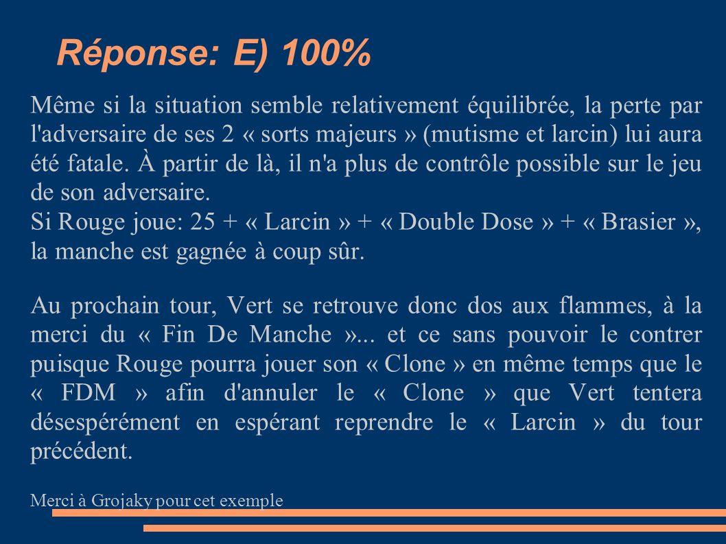 Réponse: E) 100% Même si la situation semble relativement équilibrée, la perte par l adversaire de ses 2 « sorts majeurs » (mutisme et larcin) lui aura été fatale.
