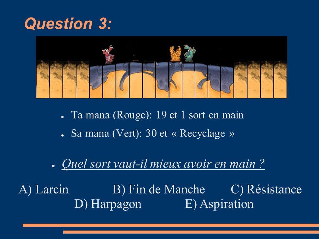 Question 3: Ta mana (Rouge): 19 et 1 sort en main Sa mana (Vert): 30 et « Recyclage » Quel sort vaut-il mieux avoir en main .