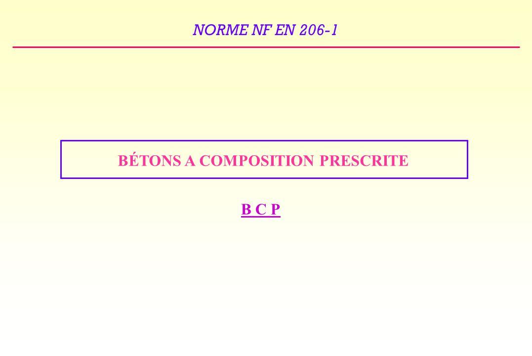 NORME NF EN 206-1 BÉTONS A COMPOSITION PRESCRITE B C P