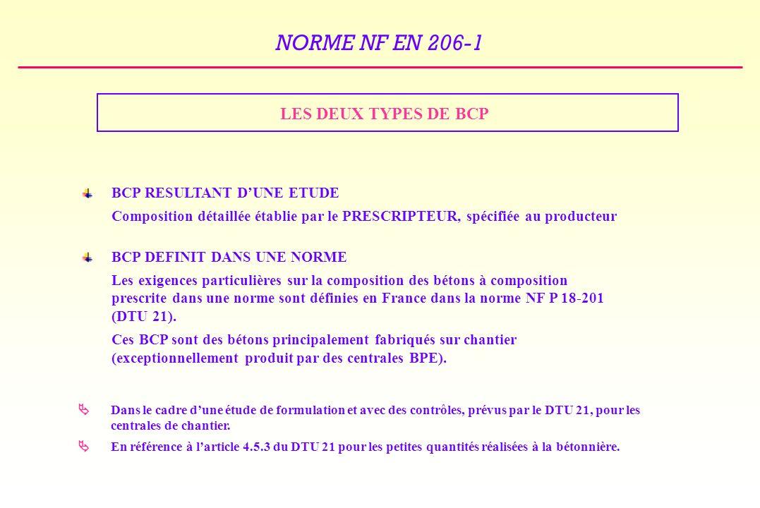 NORME NF EN 206-1 LES DEUX TYPES DE BCP BCP RESULTANT DUNE ETUDE Composition détaillée établie par le PRESCRIPTEUR, spécifiée au producteur BCP DEFINIT DANS UNE NORME Les exigences particulières sur la composition des bétons à composition prescrite dans une norme sont définies en France dans la norme NF P 18-201 (DTU 21).