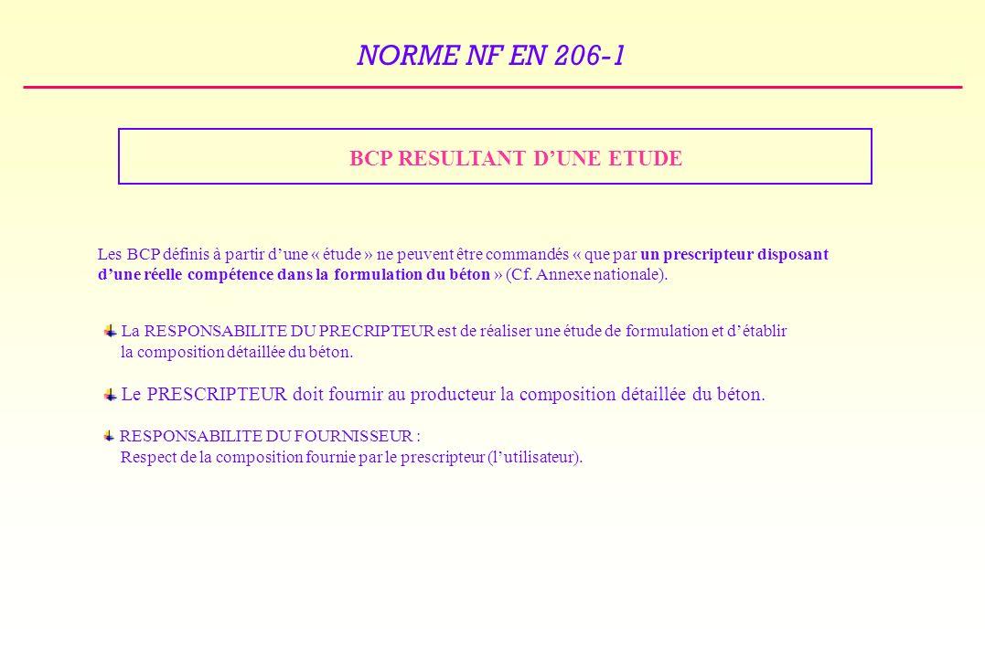 NORME NF EN 206-1 BCP RESULTANT DUNE ETUDE Les BCP définis à partir dune « étude » ne peuvent être commandés « que par un prescripteur disposant dune réelle compétence dans la formulation du béton » (Cf.