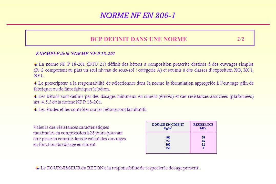NORME NF EN 206-1 BCP DEFINIT DANS UNE NORME EXEMPLE de la NORME NF P 18-201 La norme NF P 18-201 (DTU 21) définit des bétons à composition prescrite destinés à des ouvrages simples (R+2 comportant au plus un seul niveau de sous-sol : catégorie A) et soumis à des classes dexposition XO, XC1, XF1.