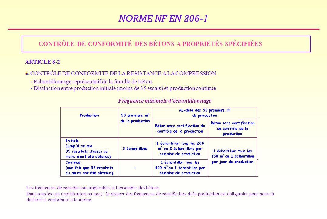 NORME NF EN 206-1 CONTRÔLE DE CONFORMITÉ DES BÉTONS A PROPRIÉTÉS SPÉCIFIÉES ARTICLE 8-2 CONTRÔLE DE CONFORMITE DE LA RESISTANCE A LA COMPRESSION - Echantillonnage représentatif de la famille de béton - Distinction entre production initiale (moins de 35 essais) et production continue Les fréquences de contrôle sont applicables à lensemble des bétons.
