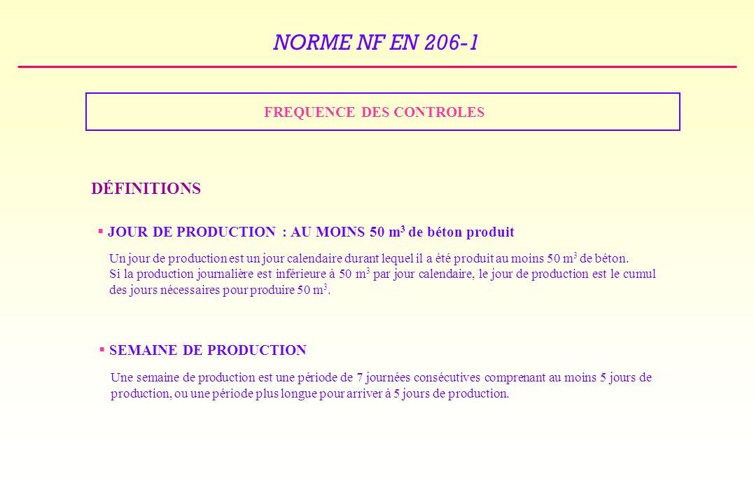 NORME NF EN 206-1 FREQUENCE DES CONTROLES DÉFINITIONS JOUR DE PRODUCTION : AU MOINS 50 m 3 de béton produit Un jour de production est un jour calendaire durant lequel il a été produit au moins 50 m 3 de béton.