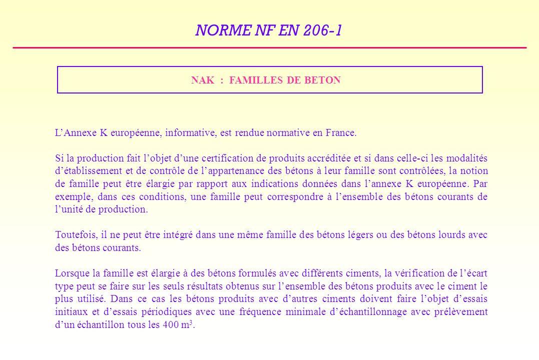 NORME NF EN 206-1 NAK : FAMILLES DE BETON LAnnexe K européenne, informative, est rendue normative en France.