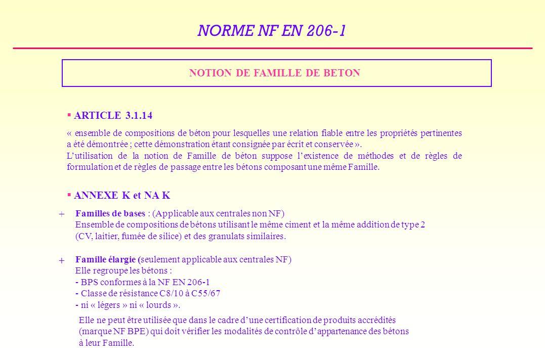 NORME NF EN 206-1 NOTION DE FAMILLE DE BETON ARTICLE 3.1.14 « ensemble de compositions de béton pour lesquelles une relation fiable entre les propriétés pertinentes a été démontrée ; cette démonstration étant consignée par écrit et conservée ».