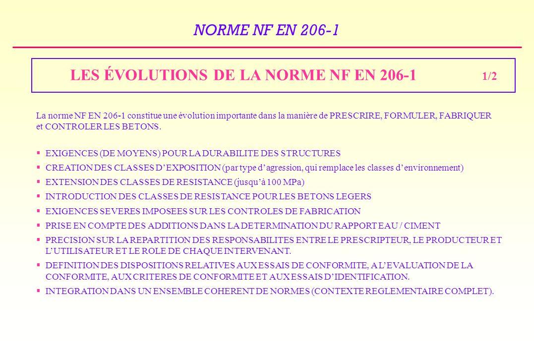 NORME NF EN 206-1 LES ÉVOLUTIONS DE LA NORME NF EN 206-1 EXIGENCES (DE MOYENS) POUR LA DURABILITE DES STRUCTURES CREATION DES CLASSES DEXPOSITION (par type dagression, qui remplace les classes denvironnement) EXTENSION DES CLASSES DE RESISTANCE (jusquà 100 MPa) INTRODUCTION DES CLASSES DE RESISTANCE POUR LES BETONS LEGERS EXIGENCES SEVERES IMPOSEES SUR LES CONTROLES DE FABRICATION PRISE EN COMPTE DES ADDITIONS DANS LA DETERMINATION DU RAPPORT EAU / CIMENT PRECISION SUR LA REPARTITION DES RESPONSABILITES ENTRE LE PRESCRIPTEUR, LE PRODUCTEUR ET LUTILISATEUR ET LE ROLE DE CHAQUE INTERVENANT.