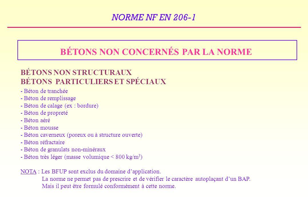 NORME NF EN 206-1 BÉTONS NON CONCERNÉS PAR LA NORME BÉTONS NON STRUCTURAUX BÉTONS PARTICULIERS ET SPÉCIAUX - Béton de tranchée - Béton de remplissage - Béton de calage (ex : bordure) - Béton de propreté - Béton aéré - Béton mousse - Béton caverneux (poreux ou à structure ouverte) - Béton réfractaire - Béton de granulats non-minéraux - Béton très léger (masse volumique < 800 kg/m 3 ) NOTA : Les BFUP sont exclus du domaine dapplication.