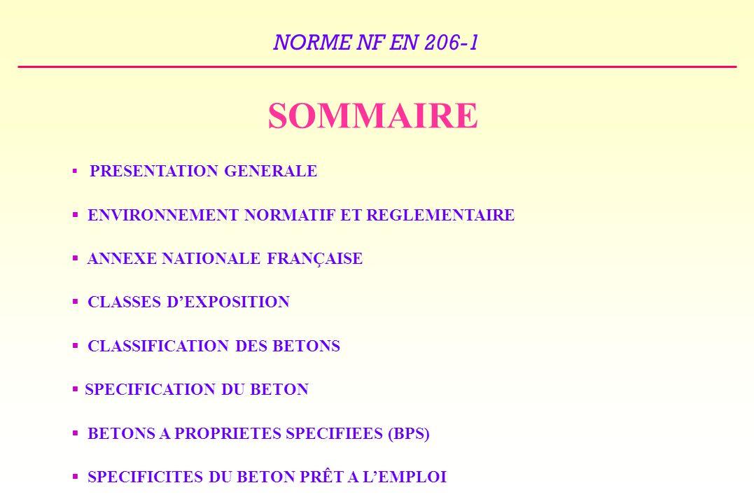 NORME NF EN 206-1 SOMMAIRE PRESENTATION GENERALE ENVIRONNEMENT NORMATIF ET REGLEMENTAIRE ANNEXE NATIONALE FRANÇAISE CLASSES DEXPOSITION CLASSIFICATION DES BETONS SPECIFICATION DU BETON BETONS A PROPRIETES SPECIFIEES (BPS) SPECIFICITES DU BETON PRÊT A LEMPLOI