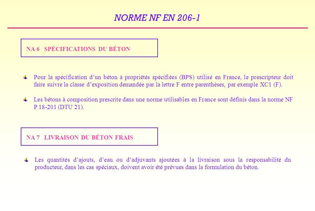 NORME NF EN 206-1 NA 6 SPÉCIFICATIONS DU BÉTON Pour la spécification dun béton à propriétés spécifiées (BPS) utilisé en France, le prescripteur doit faire suivre la classe dexposition demandée par la lettre F entre parenthèses, par exemple XC1 (F).