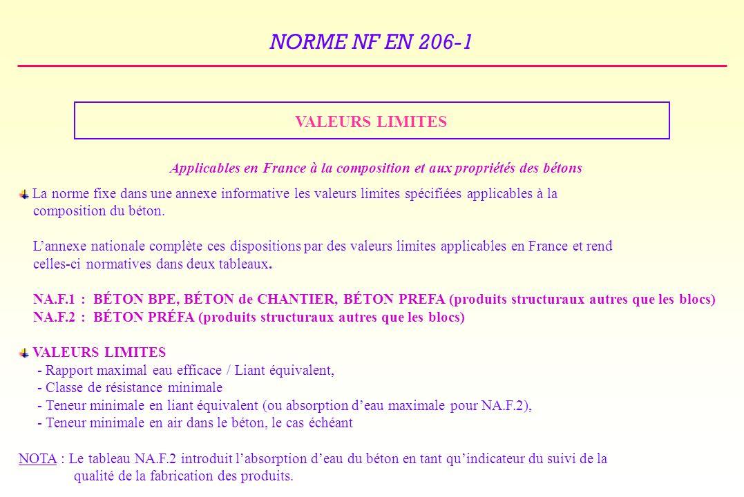 NORME NF EN 206-1 VALEURS LIMITES Applicables en France à la composition et aux propriétés des bétons La norme fixe dans une annexe informative les valeurs limites spécifiées applicables à la composition du béton.