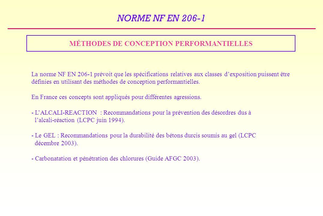 NORME NF EN 206-1 MÉTHODES DE CONCEPTION PERFORMANTIELLES La norme NF EN 206-1 prévoit que les spécifications relatives aux classes dexposition puissent être définies en utilisant des méthodes de conception performantielles.