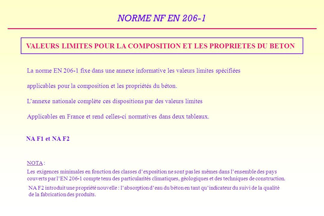 NORME NF EN 206-1 VALEURS LIMITES POUR LA COMPOSITION ET LES PROPRIETES DU BETON La norme EN 206-1 fixe dans une annexe informative les valeurs limites spécifiées applicables pour la composition et les propriétés du béton.