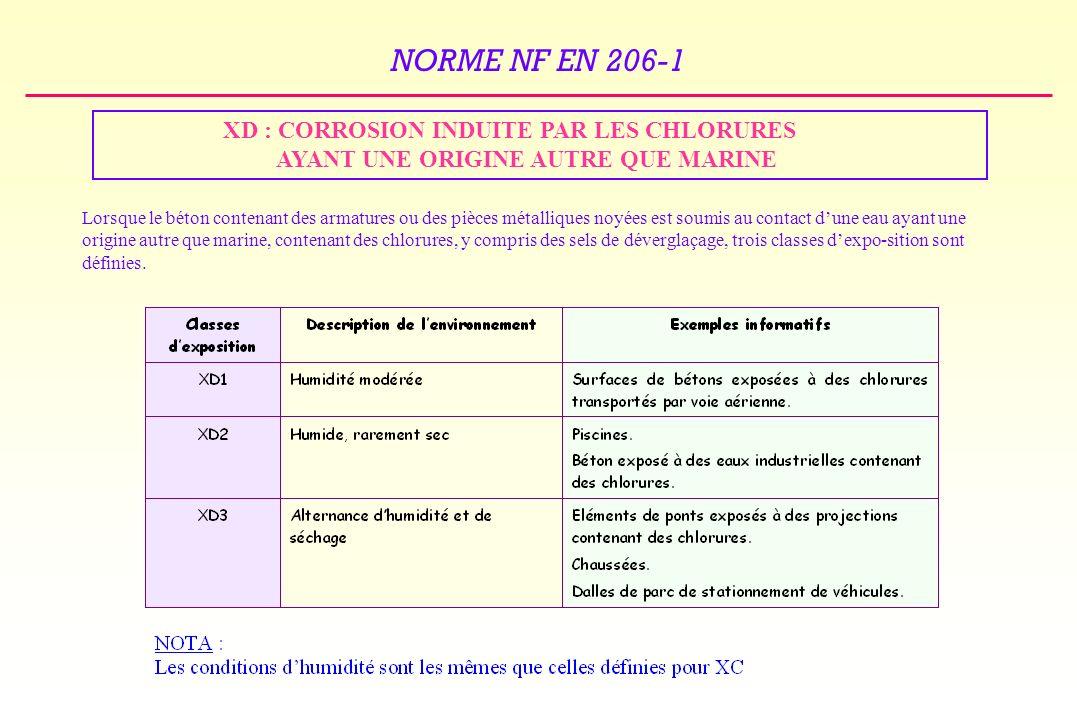 NORME NF EN 206-1 XD : CORROSION INDUITE PAR LES CHLORURES AYANT UNE ORIGINE AUTRE QUE MARINE Lorsque le béton contenant des armatures ou des pièces métalliques noyées est soumis au contact dune eau ayant une origine autre que marine, contenant des chlorures, y compris des sels de déverglaçage, trois classes dexpo-sition sont définies.