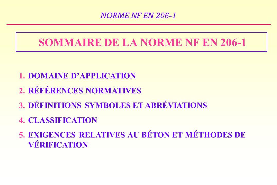 NORME NF EN 206-1 SOMMAIRE DE LA NORME NF EN 206-1 1.DOMAINE DAPPLICATION 2.RÉFÉRENCES NORMATIVES 3.DÉFINITIONS SYMBOLES ET ABRÉVIATIONS 4.CLASSIFICATION 5.EXIGENCES RELATIVES AU BÉTON ET MÉTHODES DE VÉRIFICATION
