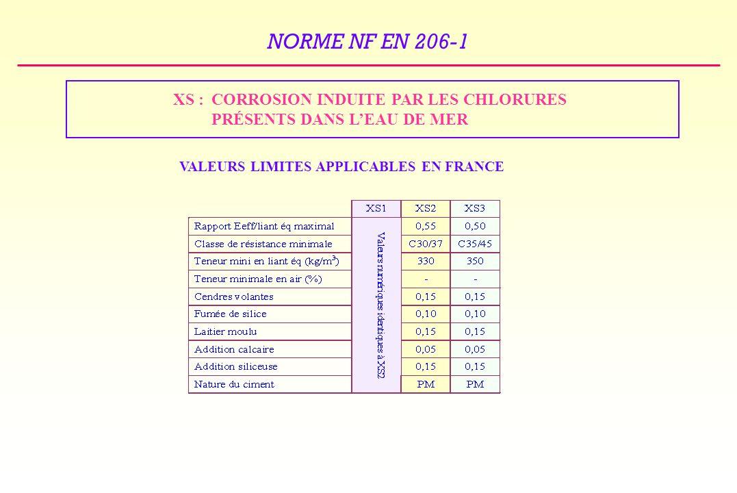 NORME NF EN 206-1 XS : CORROSION INDUITE PAR LES CHLORURES PRÉSENTS DANS LEAU DE MER VALEURS LIMITES APPLICABLES EN FRANCE