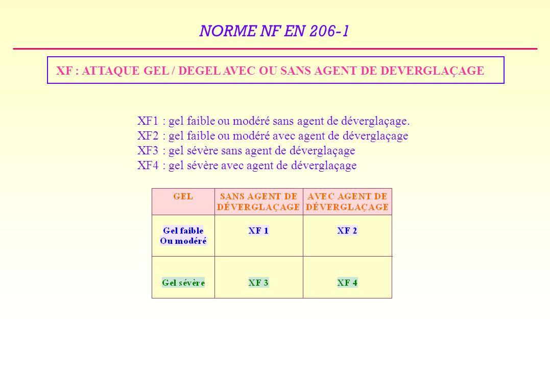 NORME NF EN 206-1 XF : ATTAQUE GEL / DEGEL AVEC OU SANS AGENT DE DEVERGLAÇAGE XF1 : gel faible ou modéré sans agent de déverglaçage.