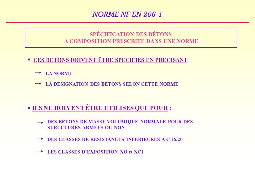 NORME NF EN 206-1 SPÉCIFICATION DES BÉTONS A COMPOSITION PRESCRITE DANS UNE NORME CES BETONS DOIVENT ÊTRE SPECIFIES EN PRECISANT ILS NE DOIVENT ÊTRE UTILISES QUE POUR : LA NORME LA DESIGNATION DES BETONS SELON CETTE NORME DES BETONS DE MASSE VOLUMIQUE NORMALE POUR DES STRUCTURES ARMEES OU NON DES CLASSES DE RESISTANCES INFERIEURES A C 16/20 LES CLASSES DEXPOSITION XO et XC1