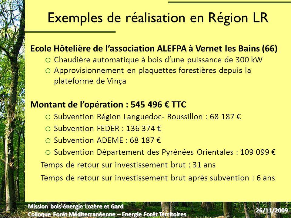 Exemples de réalisation en Région LR Ecole Hôtelière de lassociation ALEFPA à Vernet les Bains (66) o Chaudière automatique à bois dune puissance de 300 kW o Approvisionnement en plaquettes forestières depuis la plateforme de Vinça Montant de lopération : 545 496 TTC o Subvention Région Languedoc- Roussillon : 68 187 o Subvention FEDER : 136 374 o Subvention ADEME : 68 187 o Subvention Département des Pyrénées Orientales : 109 099 Temps de retour sur investissement brut : 31 ans Temps de retour sur investissement brut après subvention : 6 ans Mission bois-énergie Lozère et Gard Colloque Forêt Méditerranéenne – Energie Forêt Territoires 26/11/2009