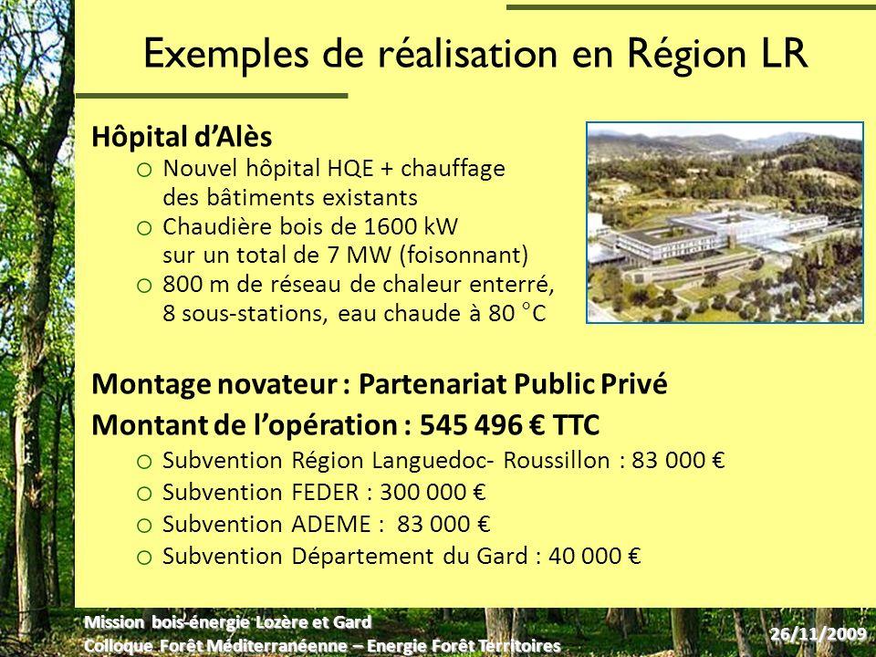 Exemples de réalisation en Région LR Hôpital dAlès o Nouvel hôpital HQE + chauffage des bâtiments existants o Chaudière bois de 1600 kW sur un total de 7 MW (foisonnant) o 800 m de réseau de chaleur enterré, 8 sous-stations, eau chaude à 80 °C Montage novateur : Partenariat Public Privé Montant de lopération : 545 496 TTC o Subvention Région Languedoc- Roussillon : 83 000 o Subvention FEDER : 300 000 o Subvention ADEME : 83 000 o Subvention Département du Gard : 40 000 Mission bois-énergie Lozère et Gard Colloque Forêt Méditerranéenne – Energie Forêt Territoires 26/11/2009