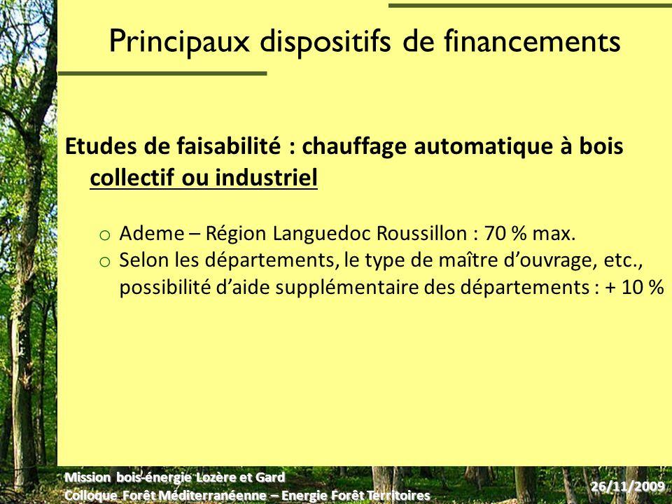 Principaux dispositifs de financements Etudes de faisabilité : chauffage automatique à bois collectif ou industriel o Ademe – Région Languedoc Roussillon : 70 % max.