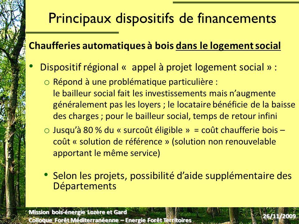 Exemples de réalisation en Région LR Collectif privé (Lozère), plaquettes autoproduites o 4 appartements o 100 kW o 35 m de réseau de chaleur enterré o 248 MAP/an o Autoproduction de plaquettes forestières avec déchiqueteuse de la forêt privé ou prestation de broyage Investissement (2006) : 50 k Aides ADEME et Région Languedoc- Roussillon Mission bois-énergie Lozère et Gard Colloque Forêt Méditerranéenne – Energie Forêt Territoires 26/11/2009