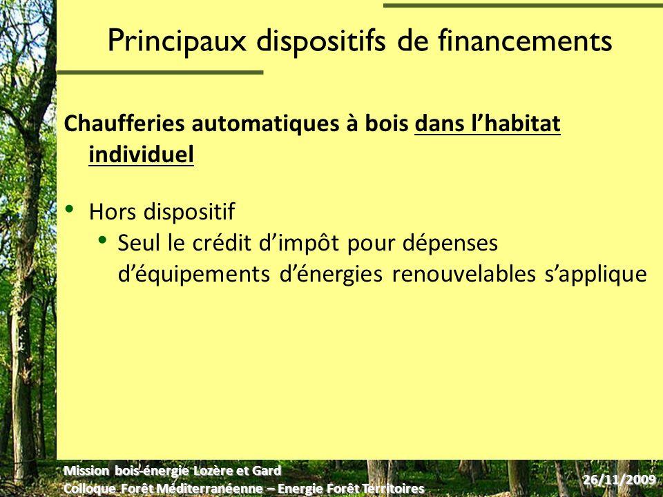 Principaux dispositifs de financements Aides à léquipement des filières dapprovisionnement en bois énergie : plateformes de séchage, broyeurs, etc.