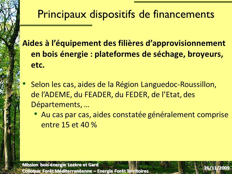 Dispositifs danimation Des missions départementales danimation bois-énergie, portées par des structures différentes : o Aude : Conseil Général de l Aude o Gard et Lozère : Mission de promotion du bois-énergie (CCI Lozère en partenariat avec les CCI de Nîmes et dAlès Cévennes) o Hérault : Association des Communes Forestières du Département de lHérault (COFOR 34) o Pyrénées-Orientales : association « Bois Energie 66 » Animations menées avec le soutien de la Région Languedoc-Roussillon, de lEurope au titre du FEDER, de lADEME, de lEtat et des Départements respectifs Réseau animé par lADEME et par la Région Languedoc- Roussillon Mission bois-énergie Lozère et Gard Colloque Forêt Méditerranéenne – Energie Forêt Territoires 26/11/2009