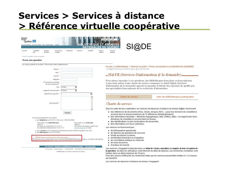 Services > Services à distance > Référence virtuelle coopérative SI@DE