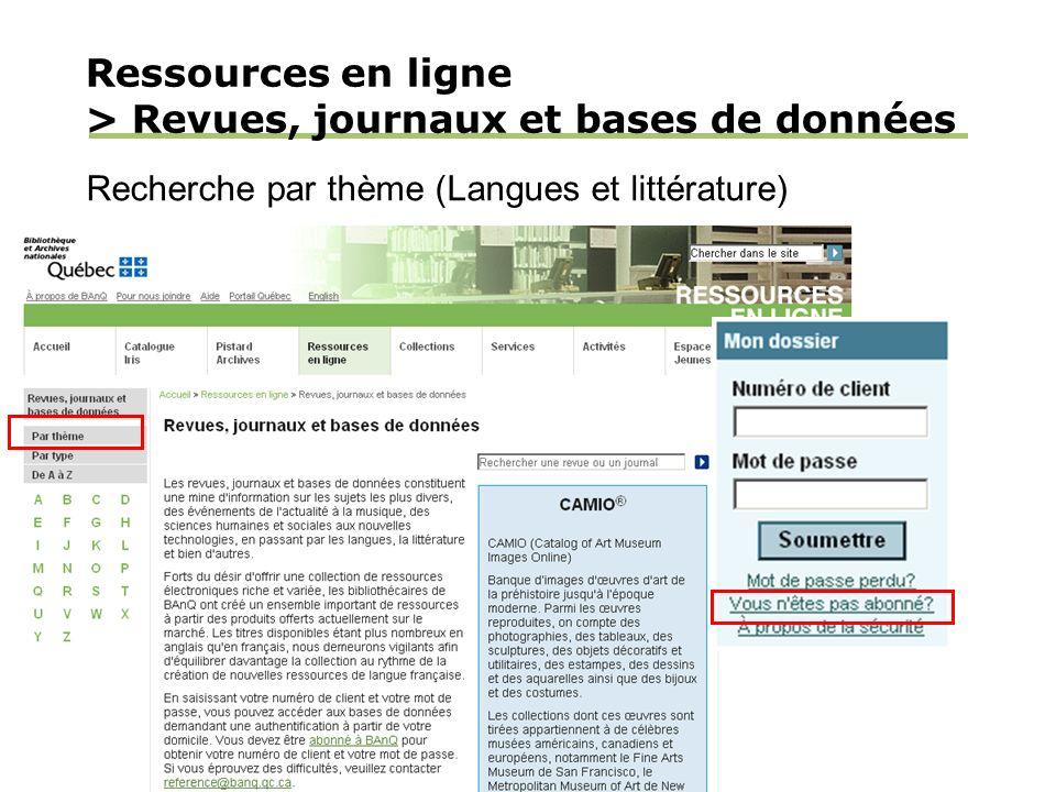 Ressources en ligne > Revues, journaux et bases de données Recherche par thème (Langues et littérature)
