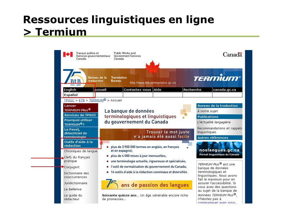 Ressources linguistiques en ligne > Termium
