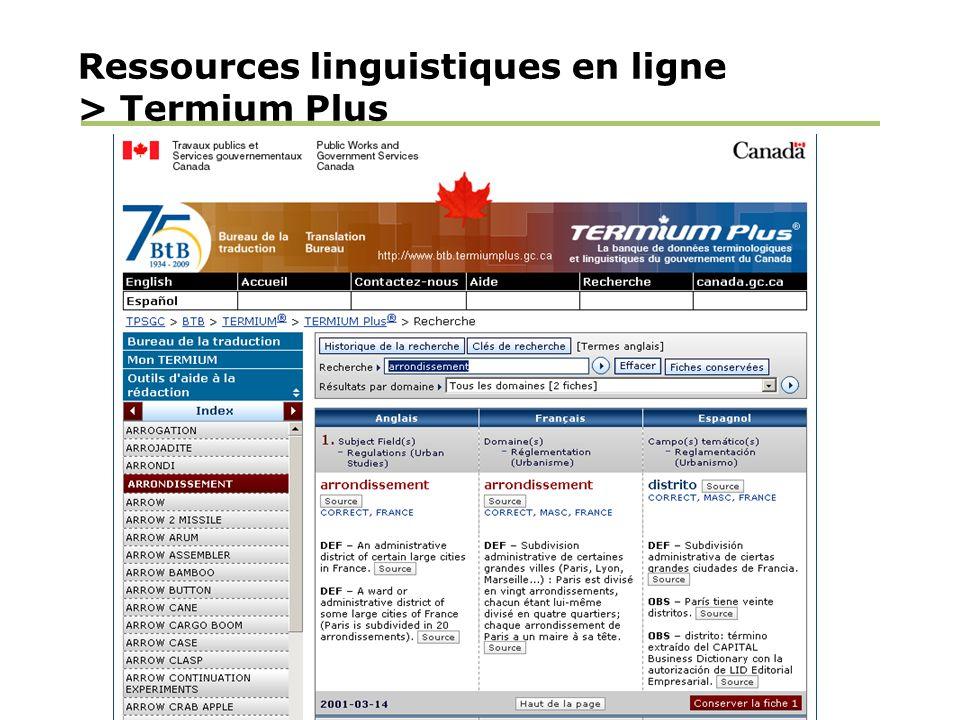 Ressources linguistiques en ligne > Termium Plus