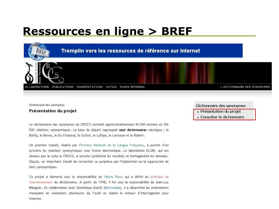 Ressources en ligne > BREF