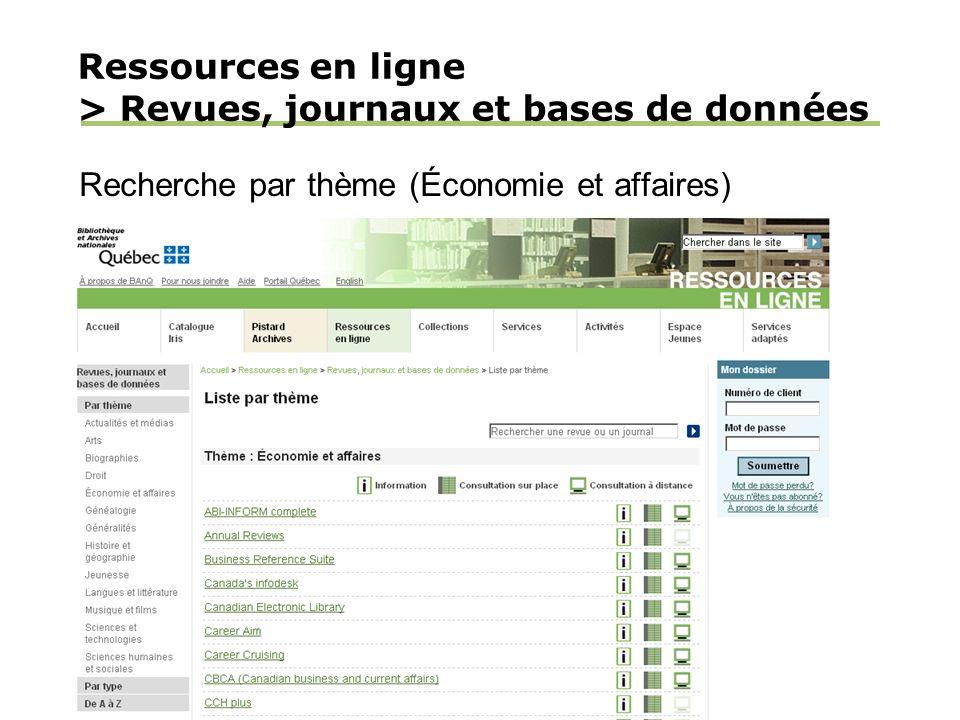 Ressources en ligne > Revues, journaux et bases de données Recherche par thème (Économie et affaires)
