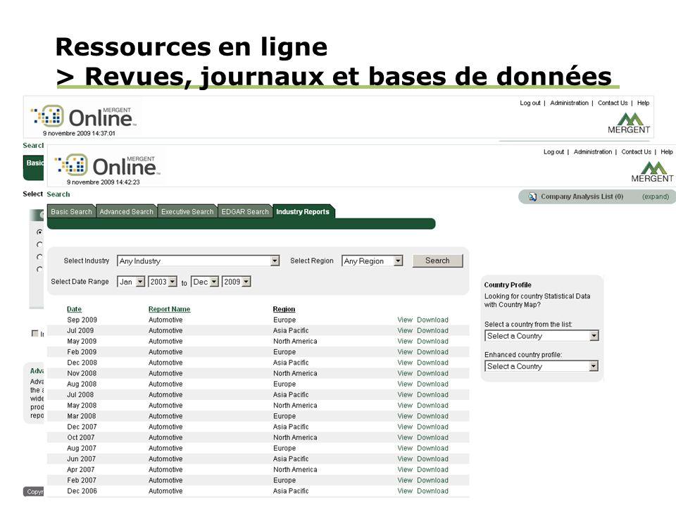 Ressources en ligne > Revues, journaux et bases de données