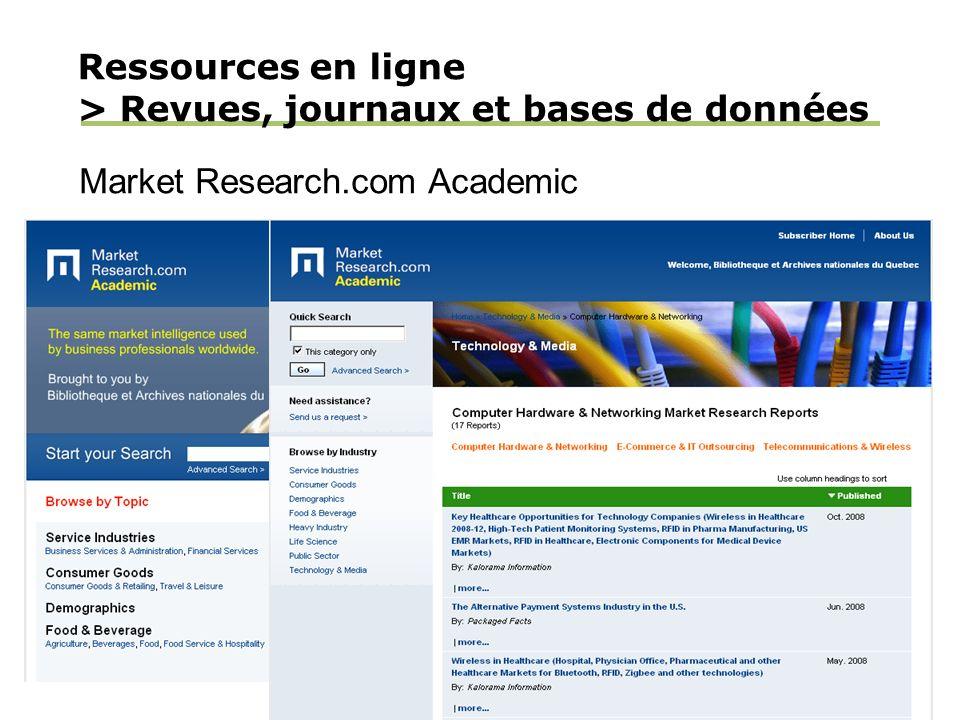 Ressources en ligne > Revues, journaux et bases de données Market Research.com Academic