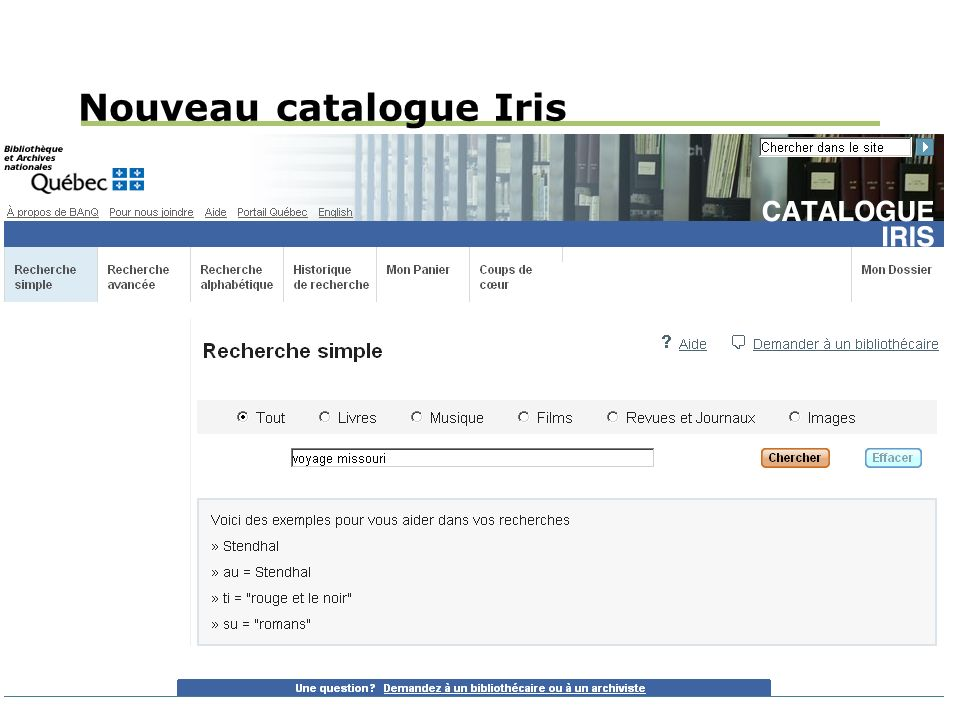 Nouveau catalogue Iris