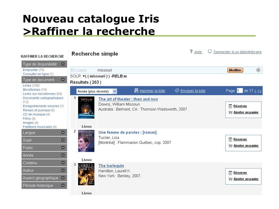 Nouveau catalogue Iris >Raffiner la recherche
