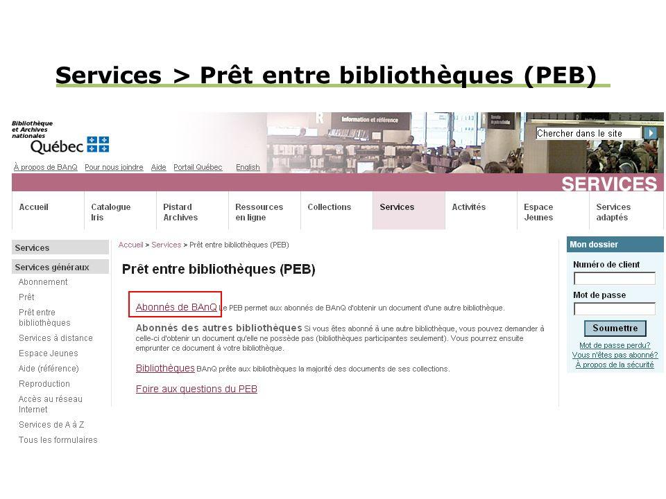 Services > Prêt entre bibliothèques (PEB)