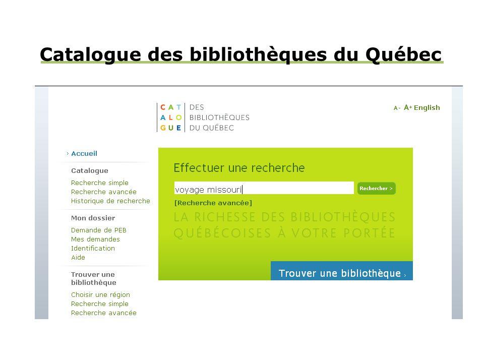 Catalogue des bibliothèques du Québec