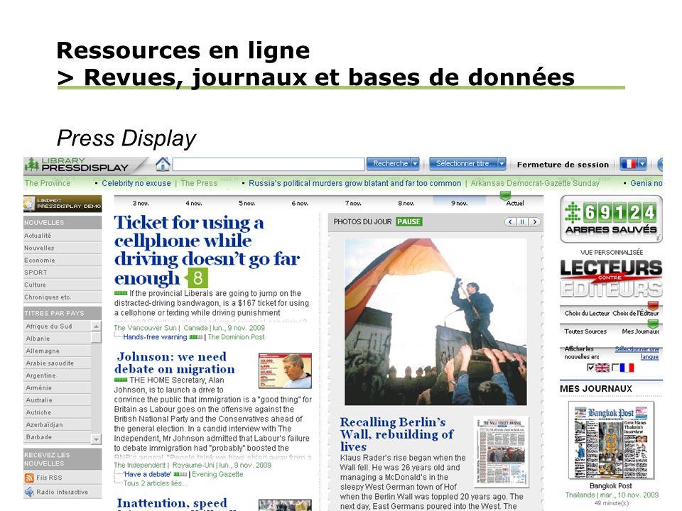 Ressources en ligne > Revues, journaux et bases de données Press Display