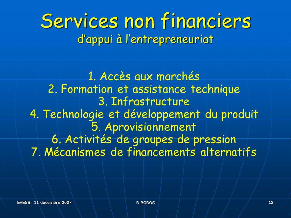 EHESS, 11 décembre 2007 R BOROS 12 Services non financiers dappui à lentrepreneuriat 1.