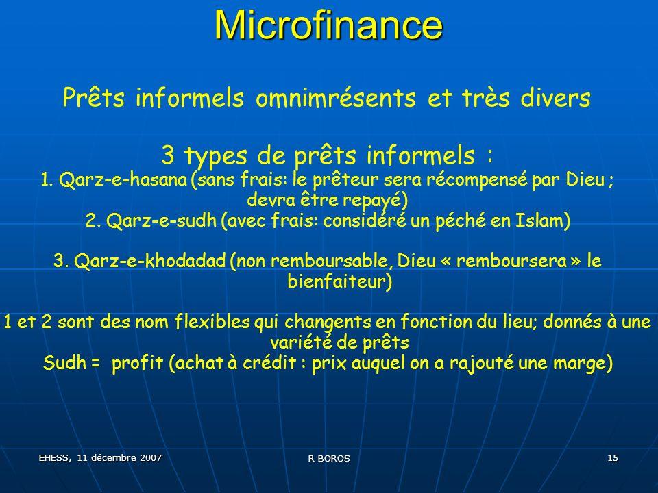 EHESS, 11 décembre 2007 R BOROS 15 Microfinance Prêts informels omnimrésents et très divers 3 types de prêts informels : 1.
