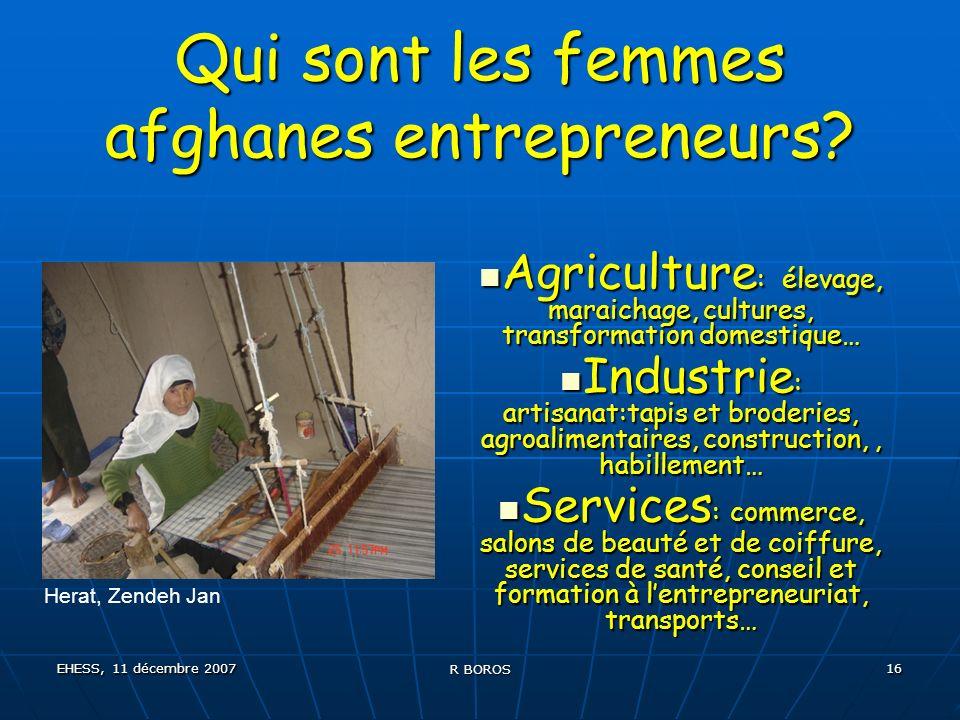 EHESS, 11 décembre 2007 R BOROS 16 Qui sont les femmes afghanes entrepreneurs.