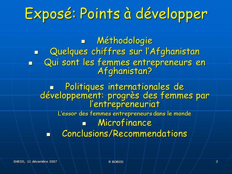 EHESS, 11 décembre 2007 R BOROS 13 Programmes de formation à lentrepreneuriat 2003200420052006 CEFE Grassroots ---------- NSDP------ -------CIF de lOIT-------- OIT Kaboul------------ AWBC AWBA 2007 Business Council for Peace-------------------------- Fédération AWBF