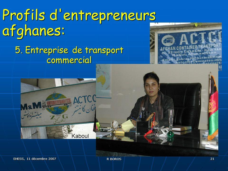 EHESS, 11 décembre 2007 R BOROS 21 Profils d entrepreneurs afghanes: 5.